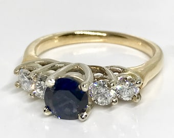 Yellow Gold Diamond and Sapphire Ring, Vintage Diamond and Sapphire Ring, Four Stone Straight Line Ring, Blue Sapphire Engagement Ring