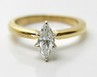 Yellow Gold Diamond Engagement Ring, Marquise Cut Diamond Ring, Vintage Engagement Ring, Marquise Cut Diamond Engagement Ring