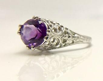 18 Karat White Gold Filigree Amethyst Ring, Amethyst Ring, Filigree Ring, Vintage Inspired Filigree Ring, Edwardian Inspired Amethyst Ring