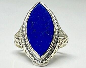 White Gold Filigree Lapis Lazuli Ring, Antique Lapis Lazuli Ring, Vintage Filigree Ring, Lapis Filigree Ring