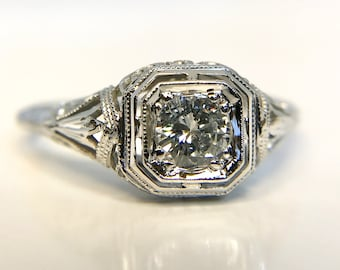White Gold Diamond Filigree Ring, Edwardian Filigree Ring, 18 Karat White Gold Diamond Filigree Ring, Engagement Ring