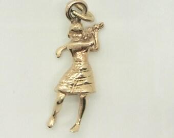 Yellow Gold Lady Golfer Charm, 14 Karat Golf Charm, Lady Golfer, Golf Charm, Golf Pendant