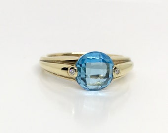 Yellow Gold Blue Topaz and Diamond Ring, Vintage Topaz Ring, Vintage Blue Topaz and Diamond Ring