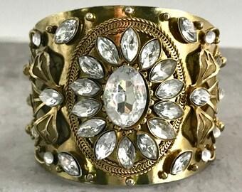 Gold Tone Rhine Stone Cuff Bracelet, Vintage Rhinestone Cuff Bracelet, Rhinestone Bracelet