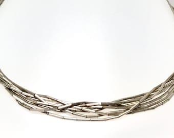 Sterling Silver Liquid Silver Necklace, Vintage Sterling Necklace, Vintage Silver Necklace