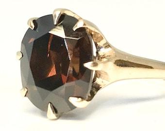 Yellow Gold Garnet Ring, Garnet Solitaire Ring, Vintage Garnet Solitaire Ring, Vintage Garnet Ring, January Birthstone Ring