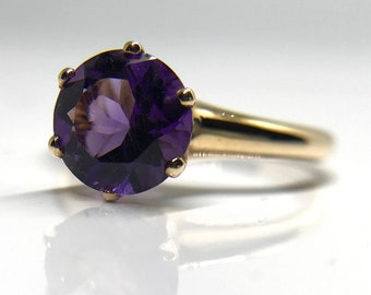 Yellow Gold Amethyst Solitaire Ring, February Birthstone Ring, Vintage Amethyst Ring, Vintage Ring