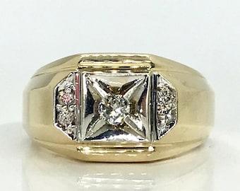 Yellow Gold Diamond Ring, Man's Diamond Ring, Man's Diamond Wedding Ring, Vintage Diamond Ring, Diamond Wedding Ring, Diamond Ring