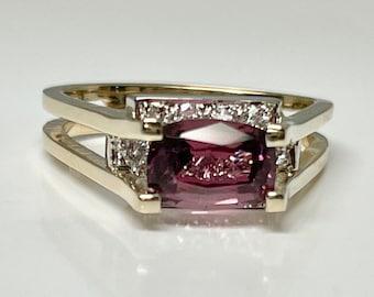 Vintage Yellow Gold Tourmaline and Diamond Ring, Peach Tourmaline Ring,  Tourmaline and Diamond Ring, Tourmaline and Diamond Cocktail Ring
