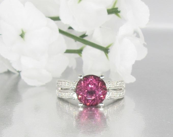 White Gold Pink Tourmaline and Diamond Ring, Pink Tourmaline, Pink Tourmaline Ring, Vintage Pink Tourmaline and Diamond Ring