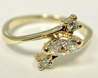 Vintage Yellow Gold Marquise Cut Diamond Engagement Ring, Marquise Cut Diamond Ring, Vintage Engagement Ring