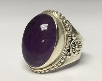 Sterling Silver Amethyst Ring, Cabochon Cut Amethyst Ring, February Birthstone Ring