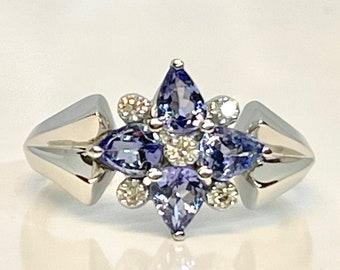Vintage White Gold Tanzanite and Diamond Ring, Vintage Cocktail Ring, Tanzanite and Diamond Ring