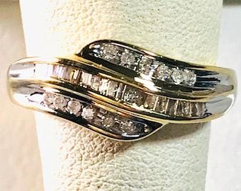 Vintage Diamond Band Ring, Yellow Gold Diamond Ring, Wedding Ring, Diamond Wedding Ring