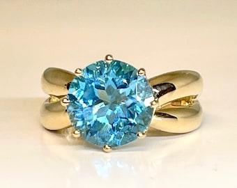 Yellow Gold Blue Topaz Ring, Vintage Blue Topaz Ring, Large Round Blue Topaz Ring