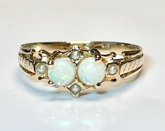 Antique Opal and Seed Pear Ring, Opal Ring, October Birthstone Ring, Vintage Opal and Pearl Ring