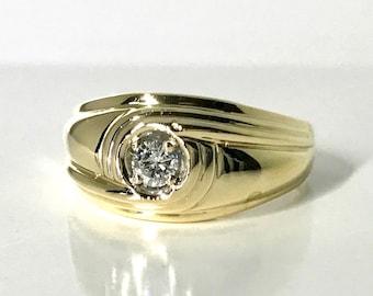 Yellow Gold Diamond Ring, Vintage Diamond Ring, Diamond Wedding Ring