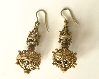 Yellow Gold Filigree Dangle Earrings, Vintage Drop Earrings, Filigree Earrings, Pierced Earrings, Vintage Filigree Dangle Earrings