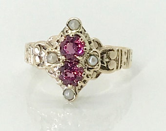 Yellow Gold Victorian Garnet and Pearl Ring, January Birthstone Ring, Antique Garnet Ring, Rhodolite Garnet Ring