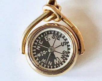 Yellow Gold Compass and Sard Fob or Pendant, Compass Fob, Hallmarked Fob or Pendant
