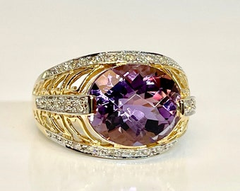 Vintage Yellow Gold Amethyst and Diamond Ring, Vintage Filigree Type Amethyst Ring, Amethyst and Diamond Ring, Amethyst Cocktail Ring