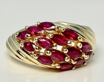 Vintage Yellow Gold Ruby Ring, Marquise Cut Ruby Ring, Yellow Gold Ruby Ring, July Birthstone Ring