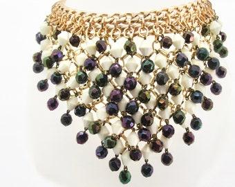Vintage Bead Bib Necklace, Black Iridescent and White Bead Bib Necklace, Vintage Necklace, Choker Necklace, Statement Necklace