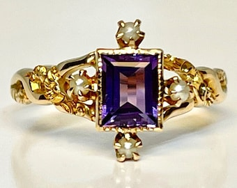 Antique Amethyst and Seed Pearl Ring, Victorian Amethyst Ring, Amethyst and Seed Pearl Ring