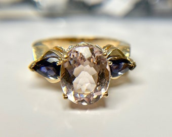 Vintage Yellow Gold Iolite and Kunzite Ring, Vintage Kunzite Ring, Vintage Iolite Ring