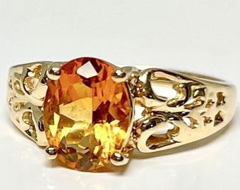 Vintage Yellow Gold Citrine Ring, Citrine Ring, Quartz Ring, Vintage Ring