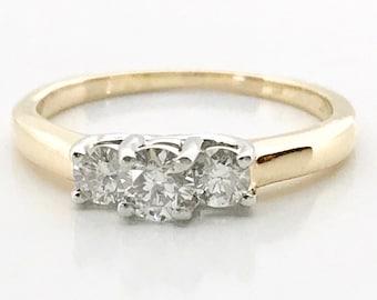 Yellow Gold Three Stone Diamond Engagement Ring, Diamond Engagement Ring, Vintage Engagement Ring