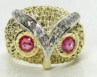 Yellow Gold Ruby and Diamond Owl Head Ring, Owl Ring. Ruby Ring, Diamond Ring, Vintage Owl Ring, Vintage Ring