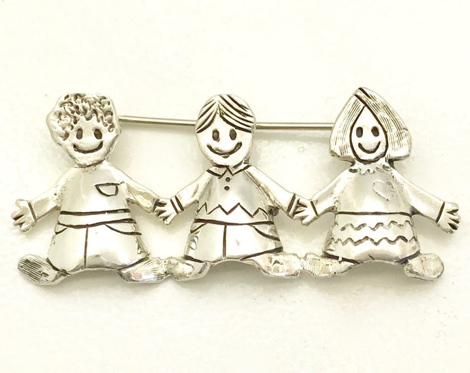 Sterling Silver Pin with Three Children, Children Brooch, Vintage Brooch with Three Children Holding Hands