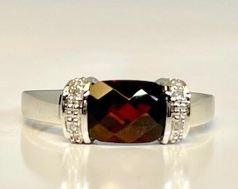 White Gold Garnet and Diamond Ring, Vintage Garnet Ring, Vintage Garnet and Diamond Ring, Garnet Right Hand Ring