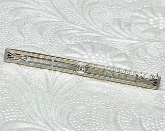 Diamond Bar Pin, Edwardian Bar Pin, Antique Bar Pin, Platinum and Gold Bar Pin, Antique Bar Pin Brooch, Hallmarked Pin