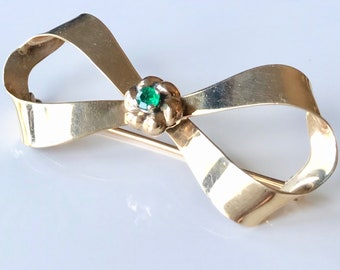 Yellow Gold Emerald Bow Pin, Emerald Pin, Emerald Brooch, Vintage Pin, Vintage Bow Brooch, May Birthstone