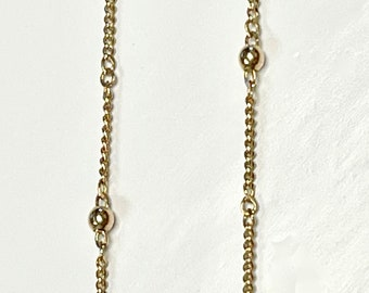 Yellow Gold Chain, Vintage Chain, Gold and Bead Decorated Chain, Chain Necklace, Vintage Chain Necklace