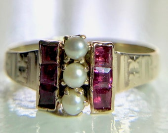 Yellow Gold Ruby and Pearl Antique Ring, Victorian Ring, Vintage Ruby Ring, July Birthstone Ring, Ruby and Pearl Ring