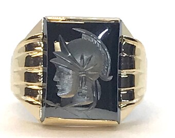 Hematite Intaglio Ring, Vintage Intaglio Ring, Vintage Yellow Gold Intaglio Ring, Intaglio, Hematite, Vintage Ring