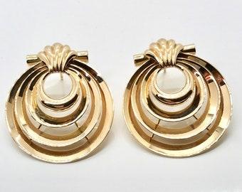 Yellow Gold Heavy Art Deco Earrings, Pierced Vintage Earrings, Art Deco Earrings, Pierced Art Deco Earrings