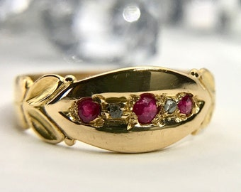 18 Karat Yellow Gold Antique Ruby and Diamond Band Ring, Hallmarked Ring, Vintage English Ring