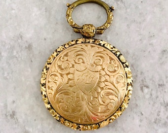 Gold Shell Memorial Locket, Heavily Engraved and Embossed Locket, Memorial Jewelry