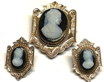 Victorian Cameo Pin and Earring Set, Antique Pin and Earring Set, Cameo Brooch, Cameo Earrings, Pierced Cameo Earrings