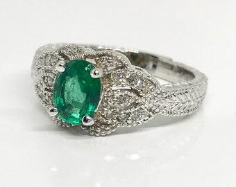 14 Karat White Gold Diamond and Emerald Ring, Emerald Cocktail Ring, Vintage Emerald Ring