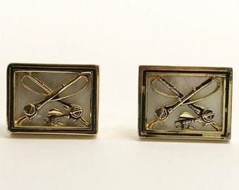 Vintage Fly Fishing Cufflinks, Swank Cufflinks, Swank Cufflinks in a Strand Box, Signed Swank Cufflinks