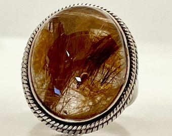 Vintage Sterling Silver Rutilated Quartz Ring, Sterling Quartz Ring, Rutilated Quartz, Quartz with Rutile Needle Ring