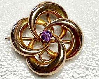 Yellow Gold Amethyst Knot Pin or Brooch, Antique Amethyst Pendant, Brooch or Pendant, Amethyst Knot Brooch, Watch Pin