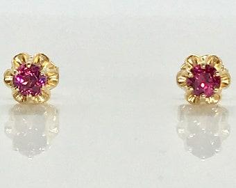 Vintage Garnet Stud Earrings, Rhodolite Garnet Earrings, Garnet Stud Earrings, Garnet Earrings in Buttercup Mounting, January Birthstone
