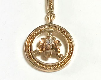 Yellow Gold Diamond Pendant, Antique Diamond Pendant, Old European Cut Diamond Pendant