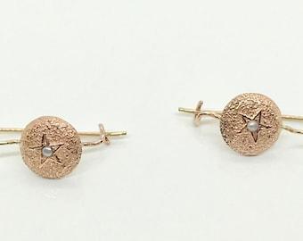 Rose Gold Drop Earrings, Victorian Inspired Pierced Earrings, Pink Gold and Pearl Drop Earrings, Vintage Rose Gold Earrings